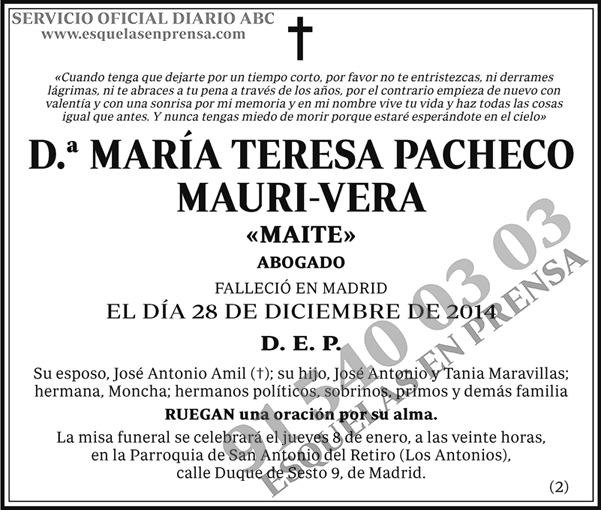 María Teresa Pacheco Mauri-Vega